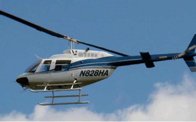 Helicopter used for inspecting the high tension lines.